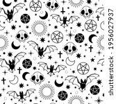 seamless halloween pattern with ... | Shutterstock .eps vector #1956027937