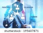 collaboration teamwork concept... | Shutterstock . vector #195607871