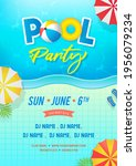 pool party invitation template... | Shutterstock .eps vector #1956079234