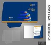 blue folder template design for ... | Shutterstock .eps vector #195611609