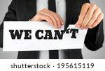 businessman tearing up a sign... | Shutterstock . vector #195615119