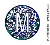 Lace Circle Blue Green Letter M ...