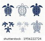 sea turtle isolated. summer... | Shutterstock .eps vector #1956222724