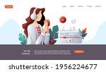 woman with headphones and cup...   Shutterstock .eps vector #1956224677