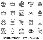 wedding icon line style vector...