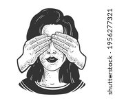 girl with covered eyes by hands ... | Shutterstock . vector #1956277321