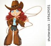 brunette curly hair cowgirl... | Shutterstock .eps vector #195629351