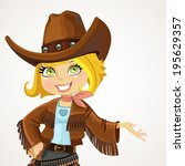 cowgirl in big hat shows hand... | Shutterstock .eps vector #195629357