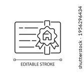broker's license linear icon.... | Shutterstock .eps vector #1956296434