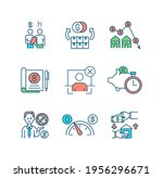 bankruptcy rgb color icons set. ... | Shutterstock .eps vector #1956296671