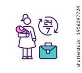 overwhelmed working mother rgb... | Shutterstock .eps vector #1956297724