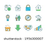 mortgage rgb color icons set.... | Shutterstock .eps vector #1956300007