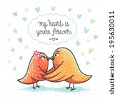 illustration of two cute birds... | Shutterstock .eps vector #195630011