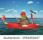 A Beige Cat Fisherman In A Red...