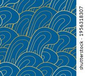 blue and gold wave pattern ... | Shutterstock .eps vector #1956318307
