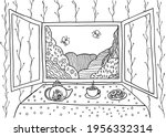 doodle landscape in window... | Shutterstock .eps vector #1956332314