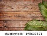 Palm Tree Leaves On Vintage...