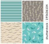 sea seamless patterns   Shutterstock .eps vector #195636104