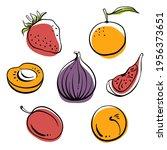 strawberry  fig  plum  mandarin ... | Shutterstock .eps vector #1956373651
