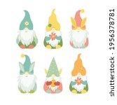set of spring easter gnomes.... | Shutterstock .eps vector #1956378781