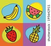 fruits design over colorful... | Shutterstock .eps vector #195642911
