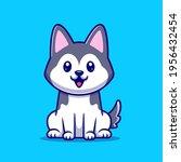 Cute Husky Dog Sitting Cartoon...
