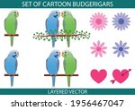 sef of cartoon budgerigar... | Shutterstock .eps vector #1956467047