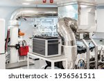 White And Clean Engine Room Of...