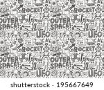 seamless doodle space pattern | Shutterstock .eps vector #195667649