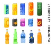 drinks in cans and plastic... | Shutterstock .eps vector #1956688987