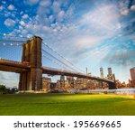 brooklyn bridge park  new york. ... | Shutterstock . vector #195669665