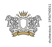 lion coat of arms logo vector... | Shutterstock .eps vector #1956740011