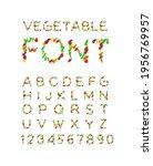 vegetable font. vegetarian... | Shutterstock .eps vector #1956769957