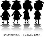 set of kids silhouette with... | Shutterstock .eps vector #1956821254