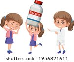 set of a girl holding different ... | Shutterstock .eps vector #1956821611