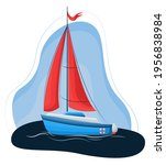 vector drawing of a sailing... | Shutterstock .eps vector #1956838984