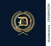 golden letter d laurel wreath... | Shutterstock .eps vector #1956844234