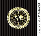 earth icon inside gold emblem.  | Shutterstock .eps vector #1956846604