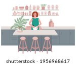 woman making pancakes in...   Shutterstock .eps vector #1956968617