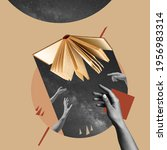 Small photo of Different hands reaching opened book, mystical. Contemporary art collage, modern design. Aesthetic of hands. Trendy pastel colors. Copyspace for your ad or text. Surreal conceptual poster.