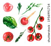 Watercolor Set With Vegetables...