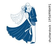 blue silhouettes of the bride... | Shutterstock . vector #1956998491