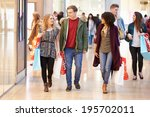 group of young friends shopping ... | Shutterstock . vector #195702011