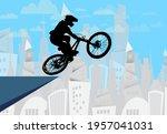 active man. bmx rider in... | Shutterstock .eps vector #1957041031