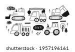 hand drawn cute cars   truck ... | Shutterstock .eps vector #1957196161