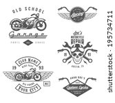 set of vintage motorcycle... | Shutterstock . vector #195734711