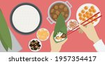 use the bamboo leaves to wrap... | Shutterstock .eps vector #1957354417