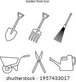 garden tool icon set isolated...
