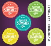 summer offer stickers | Shutterstock .eps vector #195748157