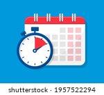 calendar and stopwatch flat...